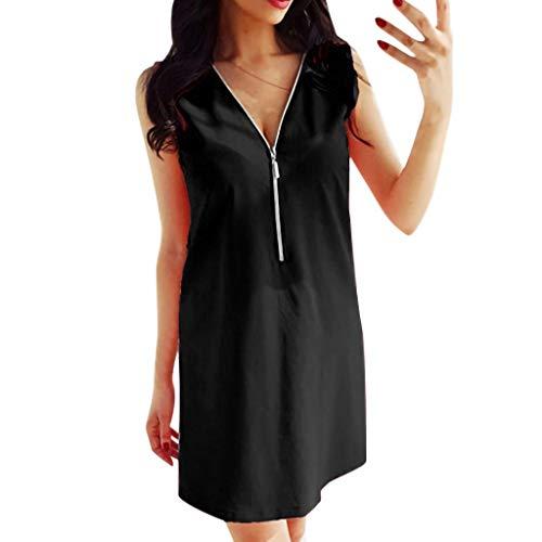 (Knee-Length Dress for Women Long Sleeve Boatneck Solid Color Pocket Long Tops Plus Size Black)