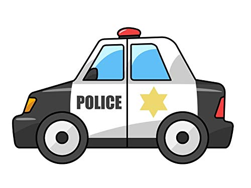 Cartoon Police Car Star Red Light Edible Cake Topper Image ABPID01663 - 8