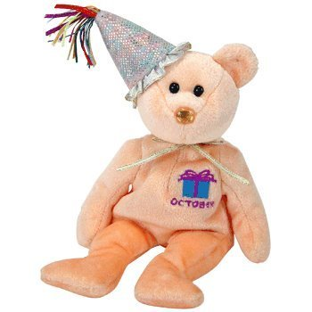 Birthday Bear Beanie - Ty Beanie Baby October Teddy Happy Birthday Bear w Hat