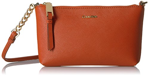 Calvin Klein Hayden Saffiano Leather Crossbody, Burnt Orange
