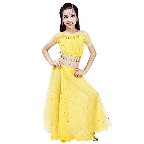Maylong Girls Polka Dot Dancing Skirt Belly Dance Outfit Halloween Costume DW51 (Large, Yellow)]()