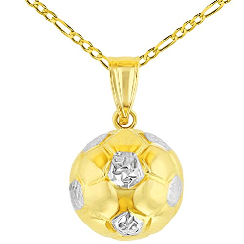 High Polished 14K Yellow Gold Soccer 3D Ball Charm Sports Pendant with Figaro Chain Necklace, 18