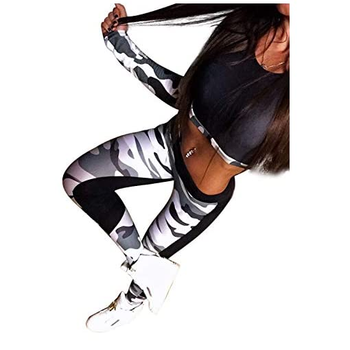 Ensemble Sport Yoga Femme Manches Longues Imprimé Fleuri Crop Top et Pantalon Elastique Legging et Haut Gym Tenue 2…
