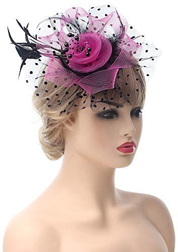 Myjoyday Grils Fascinators Tea Party Feather Flower Cocktail Headwear Derby Wedding Headband Hats Hair Clip for Women (Fuschia and Black) ()