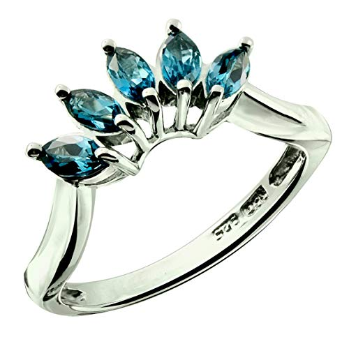 (RB Gems Sterling Silver 925 Ring Genuine GEMS Marquise 0.8 Cts Rhodium-Plated Finish, 5-Stone-Style Crown (6, London-Blue-Topaz))
