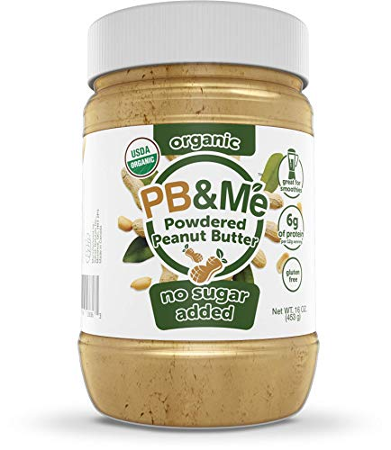 PB&Me USDA Organic Powdered Peanut Butter, Keto Snack, Gluten Free, Plant Protein, No Sugar Added, 16 Ounce