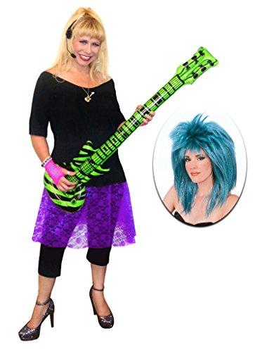 Rocker Chick Purple Lace Plus Size Supersize Halloween Costume Deluxe Blue Wig Kit (Plus Size Punk Rock Halloween Costumes)