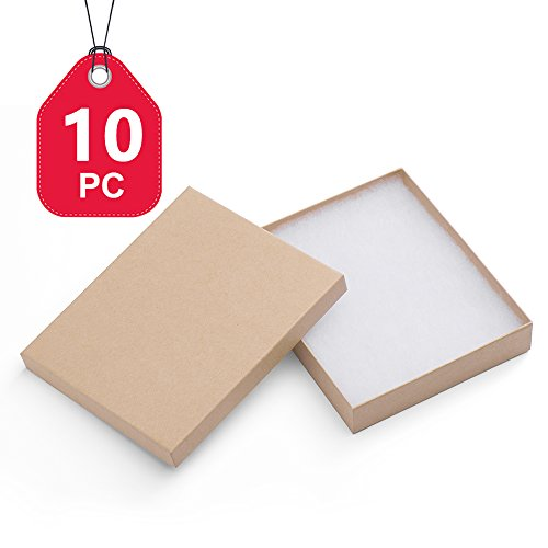 MESHA Cardboard Paper Box for Jewelry and Gift 6x5x1 Inch Thick Natural Brown Paper Box With Cotton Lining, pack of 10 by MESHA
