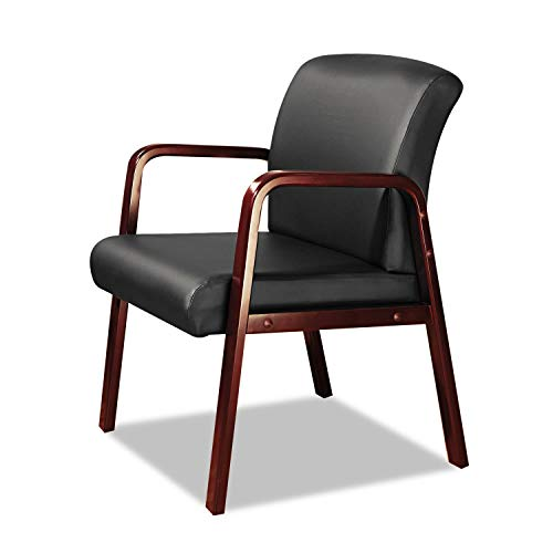 Alera ALERL4319C Reception Lounge Series Guest Chair, Cherry/Black Leather