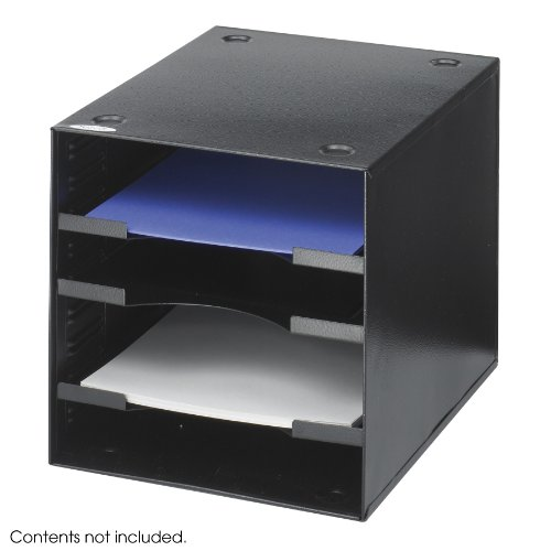 Safco Products 3112BL Steel Desktop Organizer, 4 Compartment, Black