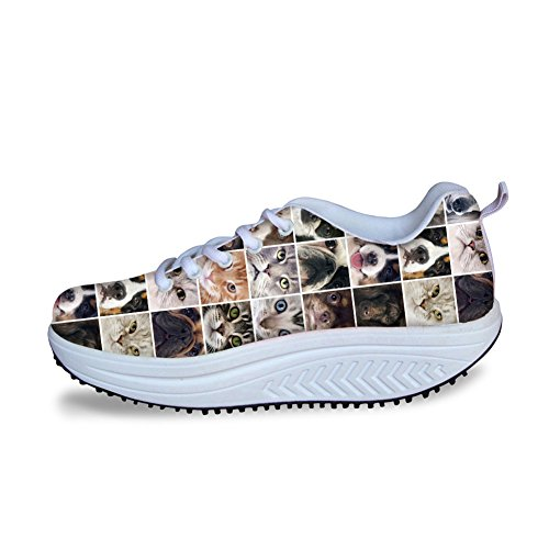 Shoes Sneakers Printed Women Animals Shape Puzzle Animals Ups 6 HUGSIDEA Platform Rcy6S8pW1