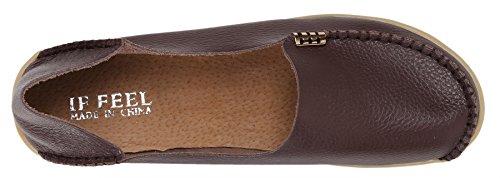 WENN FÜHLEN Frauen Flats Leder Driving Loafer Schuhe Braun