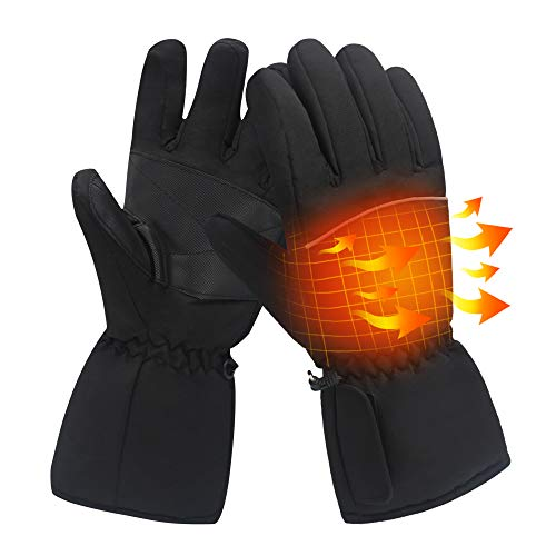 Rechargeable Electric Battery Heated Gloves Kit 3 Heat Water-resistant Touchscreen Texting Thermal Gloves Men Women Hand Warmers for Bicycling Motorcycling Hiking Skiing Climbing