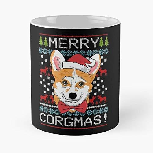 Merry Corgmas Corgi Christmas Ugly Sweater T-shirt Classic Mug - The Funny Coffee Mugs For Halloween, Holiday, Party Decoration 11 Ounce White Mtecind.
