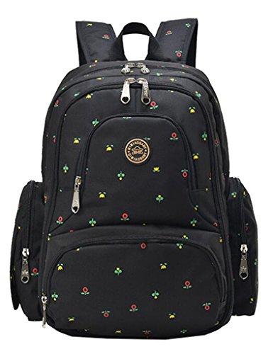 Vlokup Multifunction Designer Baby Diaper Bag Backpack Travel Nappy Bag for Stylish Moms & Dads Smart Organize System Waterproof with Baby Bottle bag, Changing Pad, Stroller Straps Black Flower