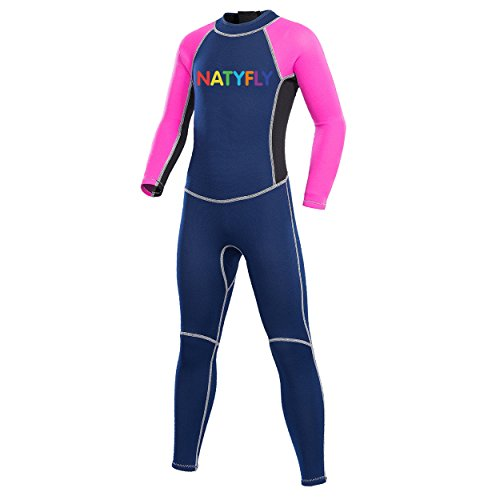 "NATYFLY Neoprene Wetsuits for Kids Boys Girls Back Zipper One Piece Swimsuit UV Protection-Brand (Pink-2MM-Long Sleeve, M-for Height 42""-47"")"