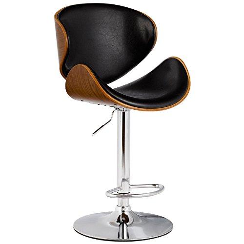 TimmyHouse 1PC Adjustable Bar Stool Barstool Pub Chair Swivel Bentwood PU Leather Modern (Asda Bench Rattan)