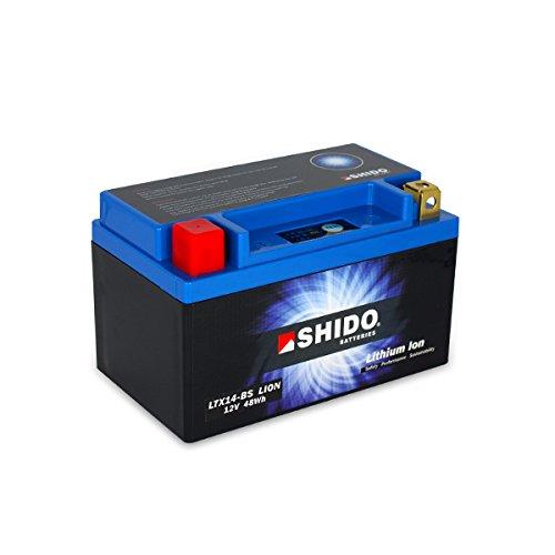 SHIDO LTX14-BS LION -S Lithium Ion Motorfietsaccu, Zwart/Blauw