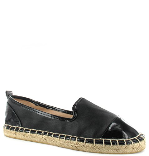 Casual Black Womens Pu Holiday Shoes 3 Pumps 9 Flat Ladies Espadrille Sizes Comfort qpqYP4