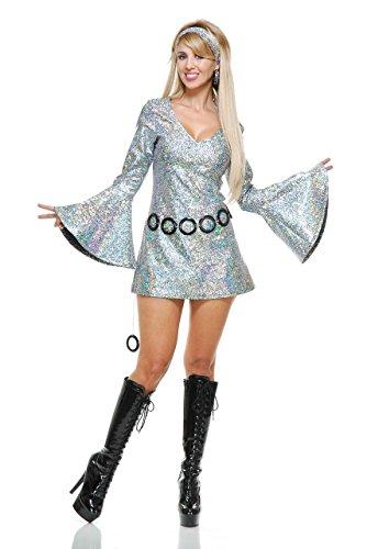 (Charades Women's Sparkle Diva Disco Dress, Silver,)