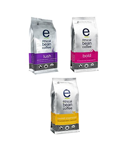 Ethical Bean Coffee, Whole Bean Variety Pack w/ 3 flavors (Lush, Bold, Sweet Espresso) 12 oz (3 Pack)