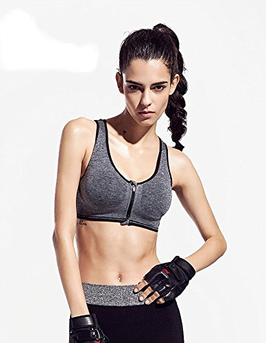 home4garden mujeres sujetador deporte Yoga Running Jogging fitness ejercicio Pad Racer Tank Top Danza de aeróbic cremallera frontal chaleco gris
