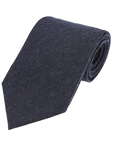 FLATSEVEN Mens Designer Classic Solid Color Neck Tie Cotton (YA006) Navy - Blue Color Cotton