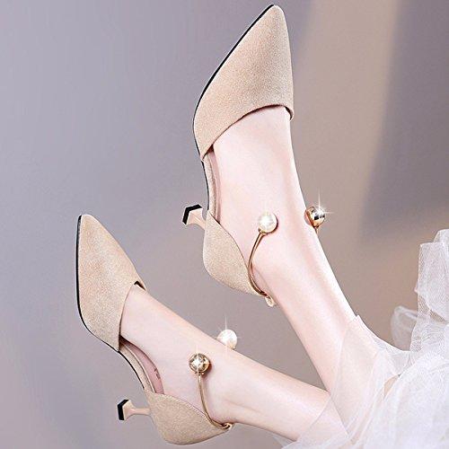 zapatos y Albaricoque de de zapatos primavera Zapatos edicion Han gato y verano la primavera de mujer tacon de de JRFBA hijos de la zapatos ZqgvI