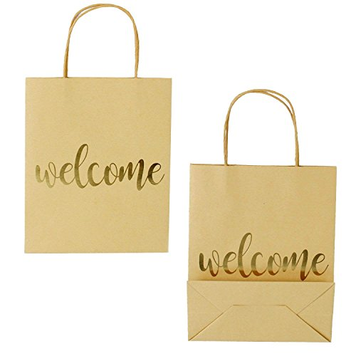 LaRibbons Medium Welcome Gift Bags - Gold Foil Brown Paper Bags with Handles for Wedding, Birthday, Baby Shower, Party Favors - 12 Pack - 8 x 4 x 10