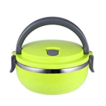 ZJchao stainless steel lunch box insulated warm storage box with handle (Green)