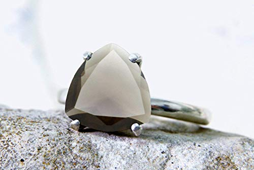 triangular ring,silver ring,trillion ring,triangle ring,stacking ring,stackable rings,smoky quartz ring,gemstone ring