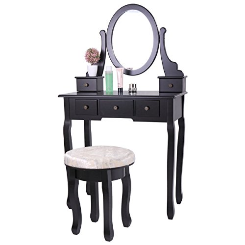 Tobbi Vanity Mirror Table Set in Black Finish Home Furniture Make up Desk Oval Mirror Table with Stool by Tobbi