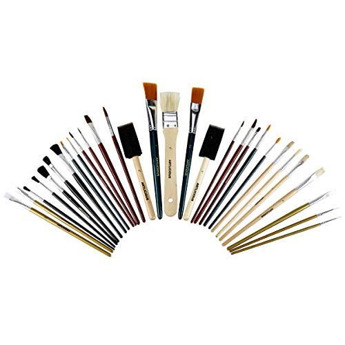 Value Paint Brush - Artlicious - 30 All Purpose Paint Brush Value Pack - Great with Acrylic, Oil, Watercolor, Gouache