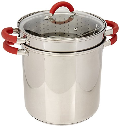 Encapsulated Base (ExcelSteel 8 Qt Multifunction Stainless Steel Pasta Cooker with Encapsulated Base, Vented Glass Lid, and Riveted Silicone Covered Handles)