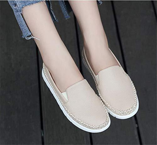 Bas Espadrilles En Zpl Beige Cuir Confortable Femmes Chaussures Plats Mocassins UqnA6S