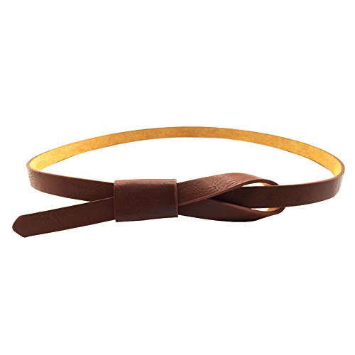 Womens Adjustable Leather Belts Fashion Skinny Minimalism Waist Strap Tan Brown - Belt Fashion
