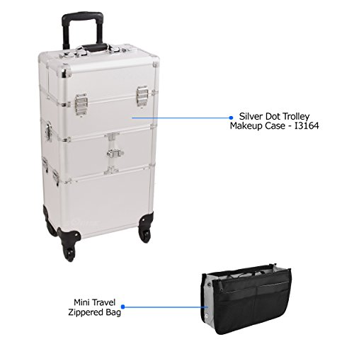 Sunrise Professional Makeup Artist Trolley Makeup Case in Silver Dot- I3164 with PC05 Mini Travel Zippered Bag by SunRise
