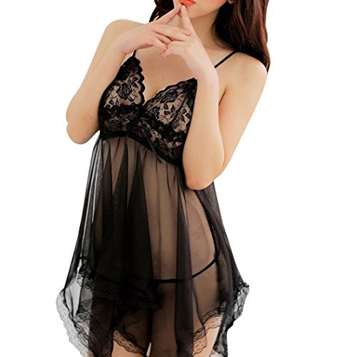 Leyorie Women Sexy Lace See Through Chemise Kimono Lingerie Nighty Gown Bath Robe