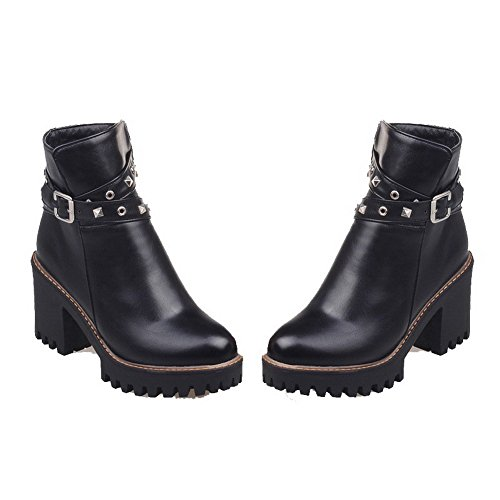 AgooLar Women's Solid PU High-Heels Zipper Round-Toe Boots Black aeHzV0f