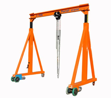 0.5-5T Adjustable Beam Manual Gantry Manual Hoist and Manual Traveling (2T-3M(3-4.5M) Manual Hoist and Traveling by Manual) by LYFOOCRANE