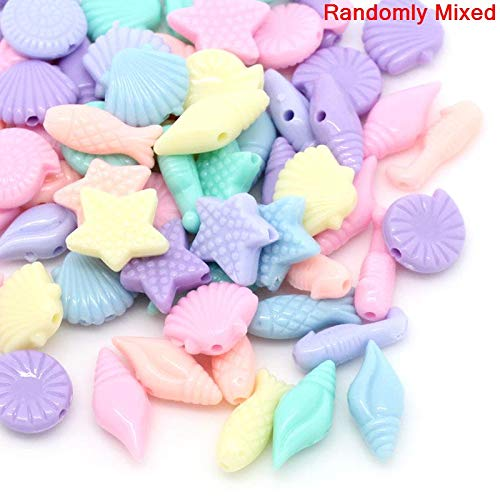 600 Pastel Acrylic Seashell and Fish Shapes Beads Assorted Pastel Colors 17 x 8mm or 7/16 x 3/8 Inch Diameter with 1.5mm - Mm Pastel 17