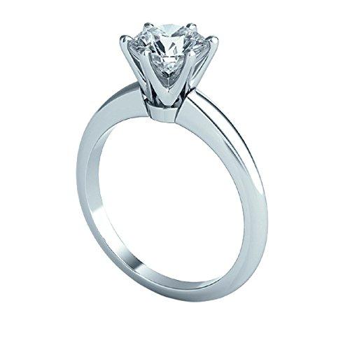 0,50CT Diamant Solitaire rond Bague de fiançailles, Or blanc