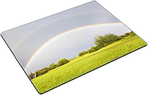 MSD Place Mat Non-Slip Natural Rubber Desk Pads Design 29858705 The Double Rainbow View Over Lithuanian Countryside