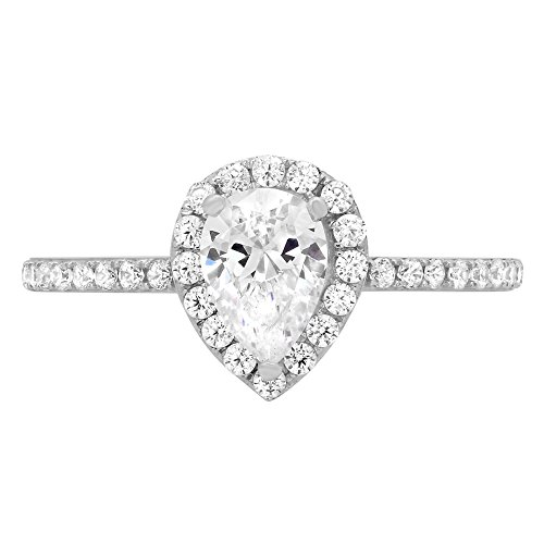 Designer Diamond Simulated Ring (1.32ct Brilliant Pear Cut Halo Simulated Diamond Statement Solitaire Ring 14k White Gold, 8)