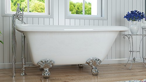 Luxury 54 inch Small Clawfoot Tub with Vintage Tub Design in White, includes Polished Chrome Ball and Claw Feet and Drain, from The Highview Collection by Pelham & White (Image #2)