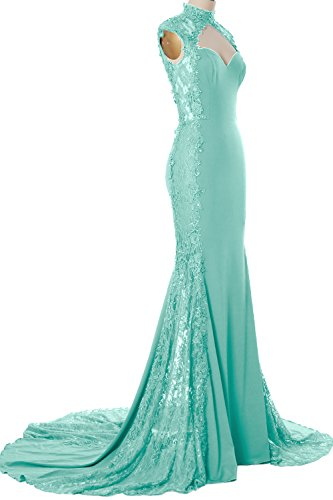 Long High Prom Dress MACloth Minze Mermaid Formal Gown Lace Women Neck Evening Jersey xRwnxqEgCI
