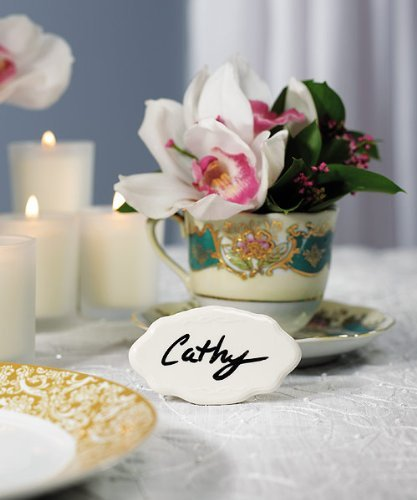 White Glazed Ceramic Reusable Place Marker - Wedding Place Card Holders
