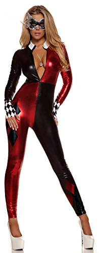 Sexy Harley Quinn Halloween Costumes (Forplay Women's Jazzy Jester, Red, Small/Medium)