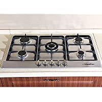 Windmax 33.86 inch 5 Burners Stainless Steel Built-in Kitchen Gas Hob Cooktops