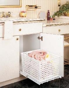 Rev-A-Shelf - HURV-1512 S - White Polymer Pull-Out Hamper/Utility Basket with Full-Extension Slides